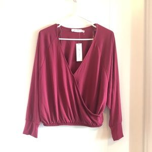 NWT All in Favor burgundy wrap long sleeve top